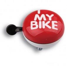 Дзвоник Green Cycle GCB-1058S I love my bike діаметр 80мм Червоний