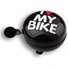 Дзвоник Green Cycle GCB-1058S I love my bike діаметр 80мм Чорний